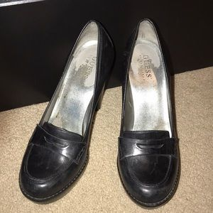 Guess heel loafers black